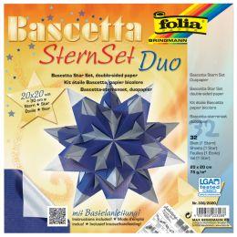 folia Faltblätter Bascetta-Stern, 200 x 200 mm, blau/silber