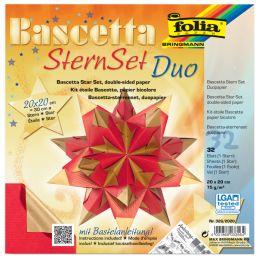 folia Faltblätter Bascetta-Stern, 200 x 200 mm, hochrot/gold
