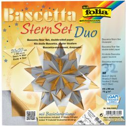 folia Faltblätter Bascetta-Stern, 200 x 200 mm, silber/gold
