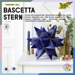 folia Faltblätter Bascetta-Stern, blau-transparent