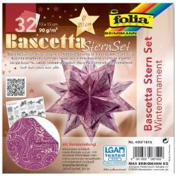 folia Faltblätter Bascetta-Stern, lila / bedruckt