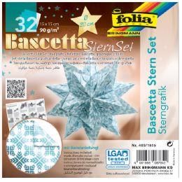 folia Faltblätter Bascetta-Stern, eisblau / bedruckt