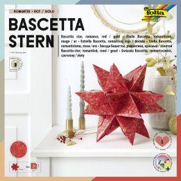 folia Faltblätter Bascetta-Stern, rot / bedruckt