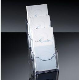 sigel Tisch-Prospekthalter acrylic, DIN lang, 3 Fächer
