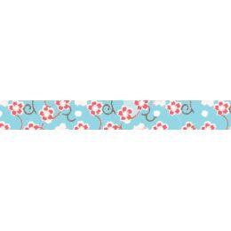 folia Deko-Klebeband Washi-Tape, Blütenranke blau