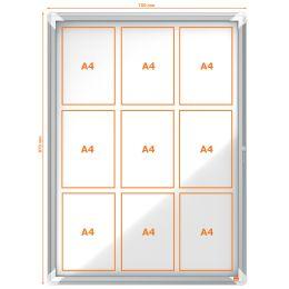 nobo Schaukasten, Metall-Rückwand, Außenbereich, 9 x DIN A4