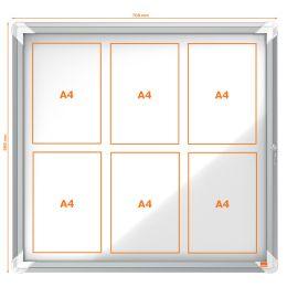 nobo Schaukasten, Metall-Rückwand, Innenbereich, 6 x DIN A4