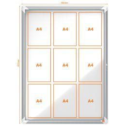 nobo Schaukasten Premium Plus, Metall-Rückwand, 9 x DIN A4