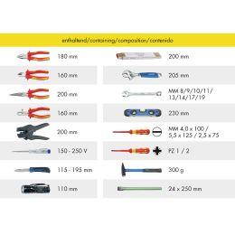 HEYTEC Werkzeug-Rucksack Elektriker, bestückt, 26-teilig