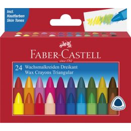 FABER-CASTELL Dreikant-Wachsmalkreide, 24er Kartonetui