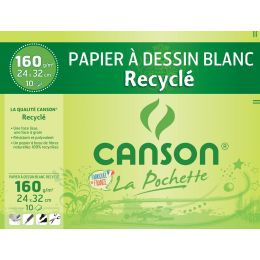 CANSON Zeichenpapier Recycling, weiß, 240 x 320 mm, 160 g/qm