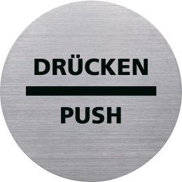 helit Piktogramm the badge DRÜCKEN/PUSH, rund, silber