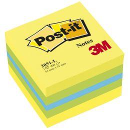 Post-it Haftnotiz-Würfel Mini, 51 x 51 mm, gelbtöne/blau