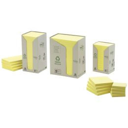 Post-it Haftnotizen Recycling Notes, 76 x 76 mm, gelb