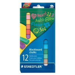 STAEDTLER Wandtafelkreide, farbig sortiert, 12er Kartonetui