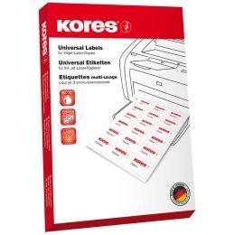 Kores Universal-Etiketten, 105,0 x 37,0 mm, ohne Rand, rot