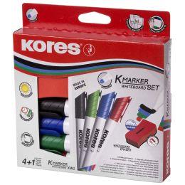 Kores Whiteboard-Marker Set, 4 Marker + Tafellöscher