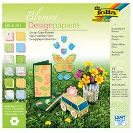 folia Designpapierblock Blumen, 305 x 305 mm, 12 Blatt