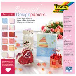 folia Designpapierblock Romantik, 305 x 305 mm, 12 Blatt