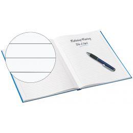 LEITZ Notizbuch WOW, DIN A4, liniert, blau metallic