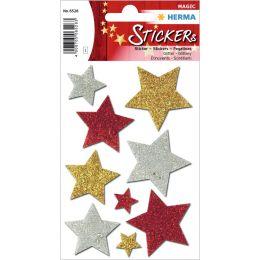 HERMA Weihnachts-Sticker MAGIC Sterne bunt, glittery