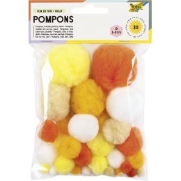 folia Pompons, 30 Stück, TON IN TON MIX Gelb