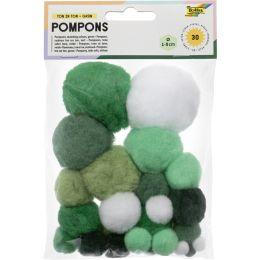folia Pompons, 30 Stück, TON IN TON MIX Grün