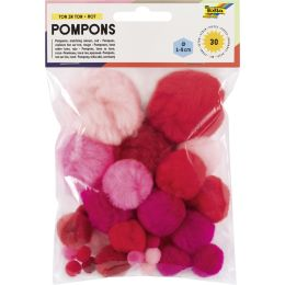 folia Pompons, 30 Stück, TON IN TON MIX Rot