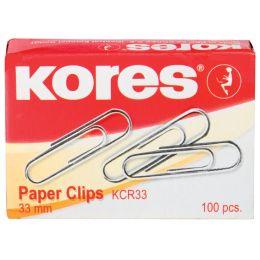Kores Büroklammern, 33 mm, verzinkt