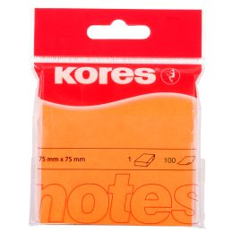 Kores Haftnotizen NEON, 75 x 75 mm, blanko, neon-orange
