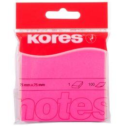 Kores Haftnotizen NEON, 75 x 75 mm, blanko, neon-pink