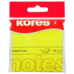 Kores Haftnotizen NEON, 75 x 75 mm, blanko, neon-gelb