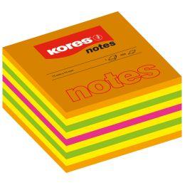 Kores Haftnotizen Würfel, 75 x 75 mm, neonfarben, 5-farbig