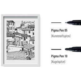 SAKURA Faserschreiber PIGMA PEN, 3er Etui, schwarz