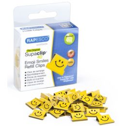RAPESCO Dokumentenclips Supaclip 40, gelb, Smiley-Motiv