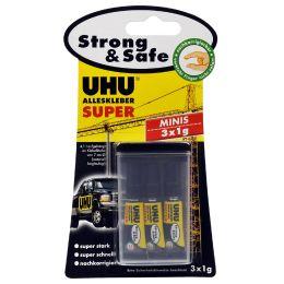 UHU Alleskleber SUPER Strong & SAFE MINIS, 3 Tuben à 1 g