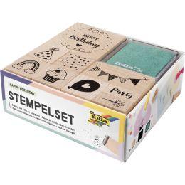 folia Motivstempel-Set Happy Birthday, aus Holz, 11-teilig