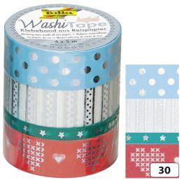folia Deko-Klebeband Washi-Tape Hotfoil Silber III, 4er Set