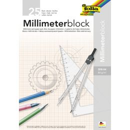 folia Millimeterpapier-Block, DIN A4, 80 g/qm, 25 Blatt