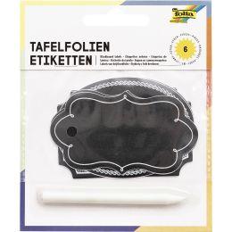 folia Tafel-Etiketten inkl. Specksteinstift, schwarz