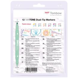 Tombow Doppelfasermaler TwinTone Pastell Colours, 12er Set