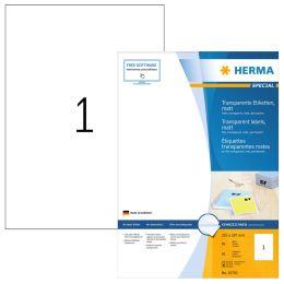 HERMA Folien-Etiketten SPECIAL, 210 x 297 mm, transparent