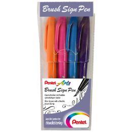PentelArts Faserschreiber Brush Sign Pen, 4er Etui, Colour