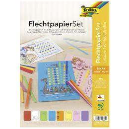 folia Flechtpapier-Set, DIN A4, 24 Flechtbögen