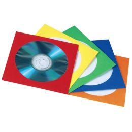 hama CD-/DVD-Papiertasche, für 1 CD/DVD, farbig sortiert