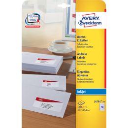 AVERY Zweckform Inkjet Adress-Etiketten, 45,7 x 21,2 mm