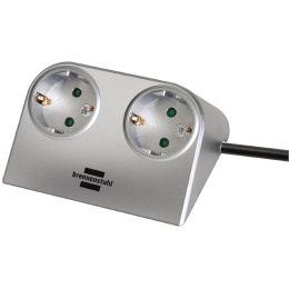 brennenstuhl Tischsteckdose Desktop-Power, 2-fach, silber