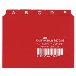 DURABLE Karteiregister A - Z, PP, A7 quer, rot, 25-teilig
