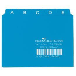 DURABLE Karteiregister A - Z, PP, A7 quer, blau, 25-teilig