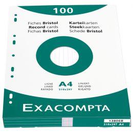 EXACOMPTA Karteikarten, DIN A4, liniert, weiß